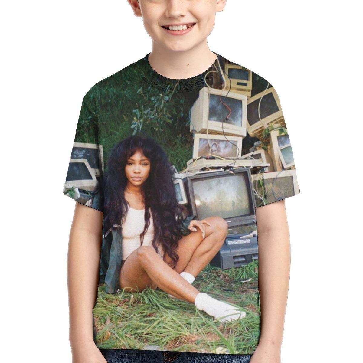 BowersJ Childrens SZA Ctrl Design 3D Printed Short Sleeve Tees for Girls /& Boys Black