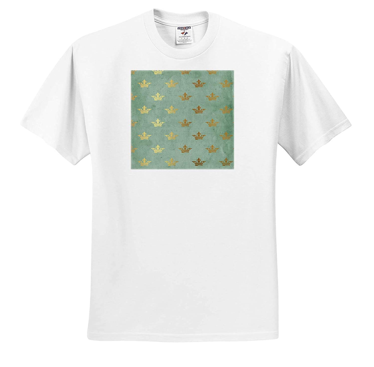 ts/_316252 Patterns 3dRose Anne Marie Baugh Light Aqua with Image of Gold Crowns Pattern Adult T-Shirt XL