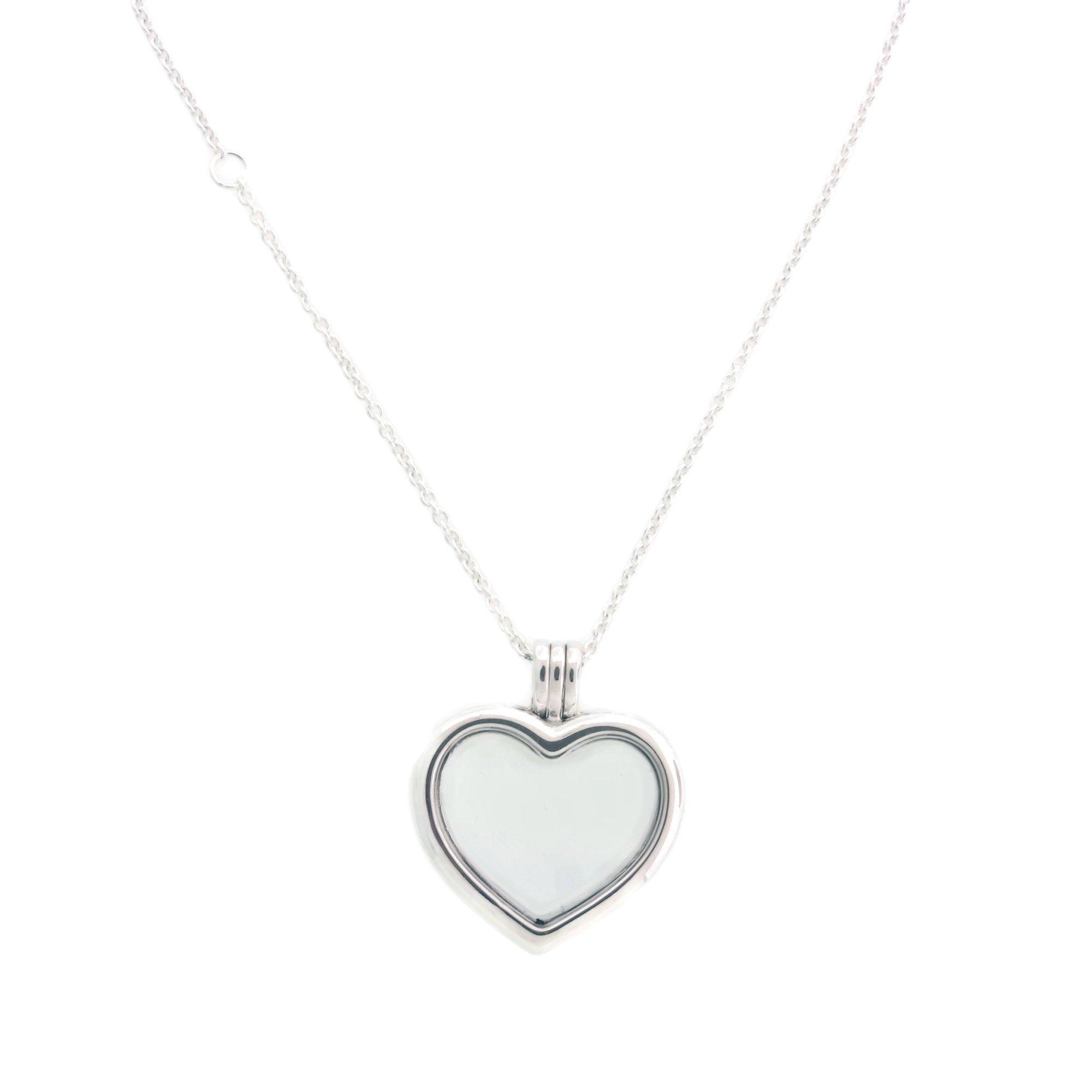 PANDORA Floating Heart Locket, Sapphire Crystal Glass & Clear CZ 590544-60