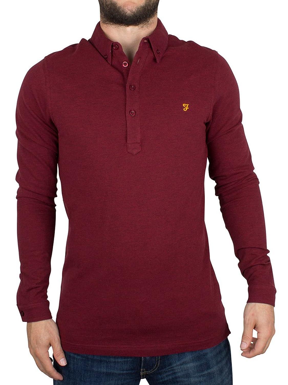 Farah Vintage Herren Longsleeved Merriweather Logo-Polo-Hemd, Rot
