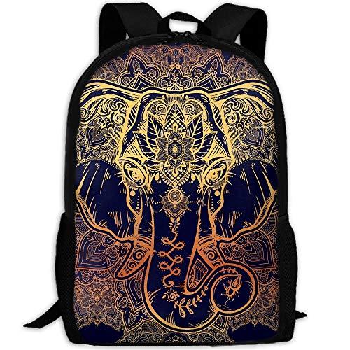 (Beautiful Floral Elephant Head Print Custom Casual School Bag Backpack Multipurpose Travel Daypack For Adult)