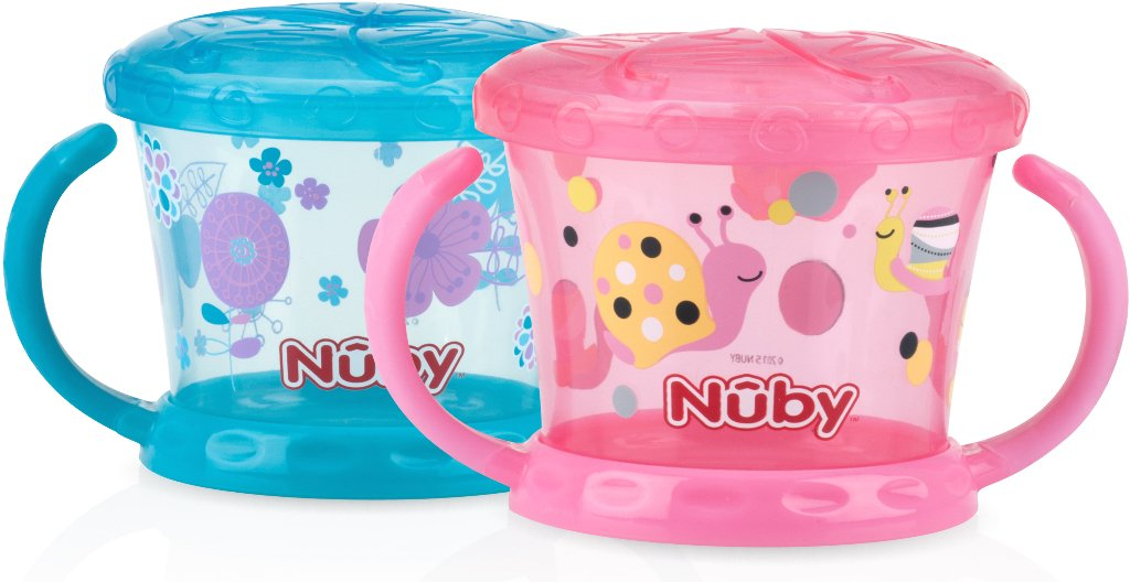 Nuby 1997423 Printed Snack Keepers44; Pink & Aqua - Pack of 2 - Case of 12