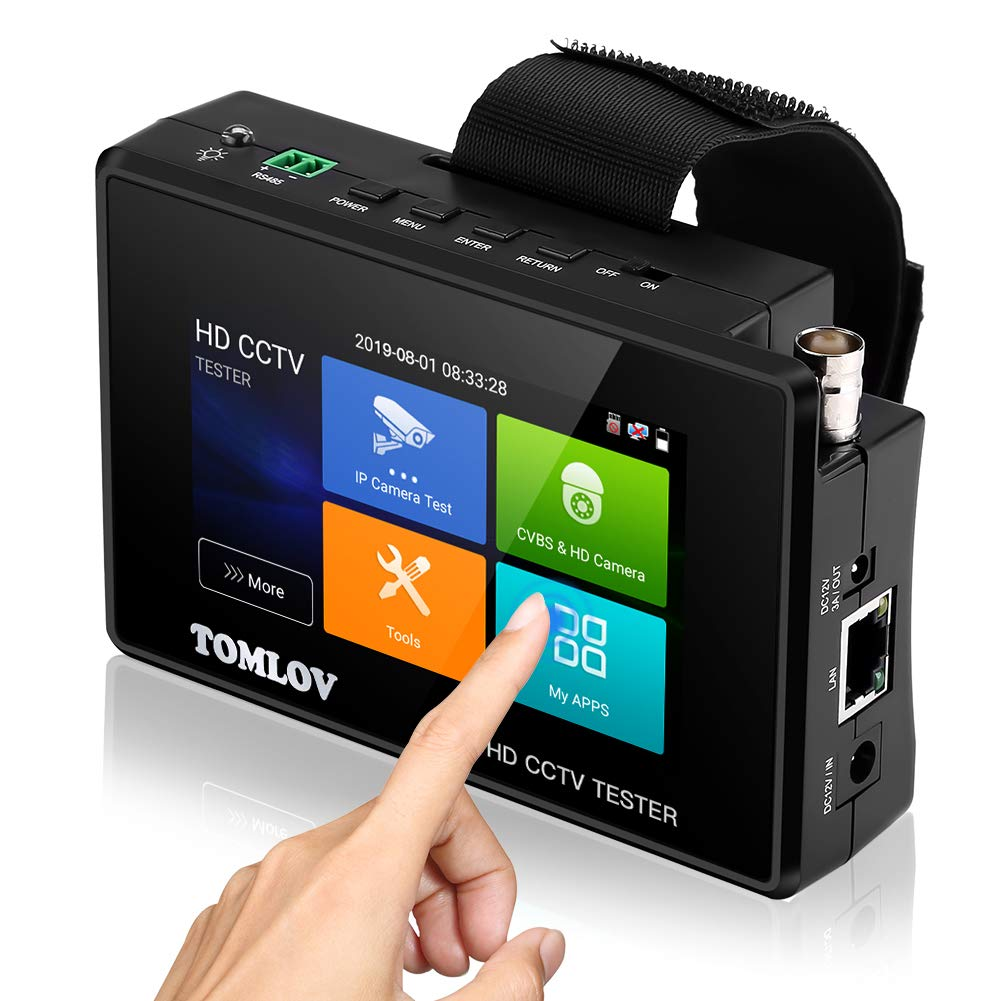 TOMLOV CCTV Tester Monitor, Support TVI, CVI, AHD, CVBS,4K H.265 MPEG 8MP IP Camera Video Test, Rapid ONVIF,4'' Touch Screen, Portable Wristband, PoE Power Out, Black by TOMLOV
