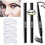 3 Colors Eyebrow Pencil Set Waterproof Drawing Automatic Eye Brow Long Lasting Sweat Proof Brown Black Grey 4 Eyebrow Stencils