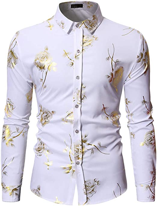 LISILI Camisa De Hombre Club Nocturno Brillante Dorado Rosa 3D Impreso Manga Larga Ajustado Abotonar Partido Camisa De Vestir,Blanco,S: Amazon.es: Hogar