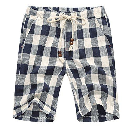 - Banana Bucket Men's Summer Casual Linen Drawstring Striped Beach Shorts (Waistline: 31-32 Inch, Blue)