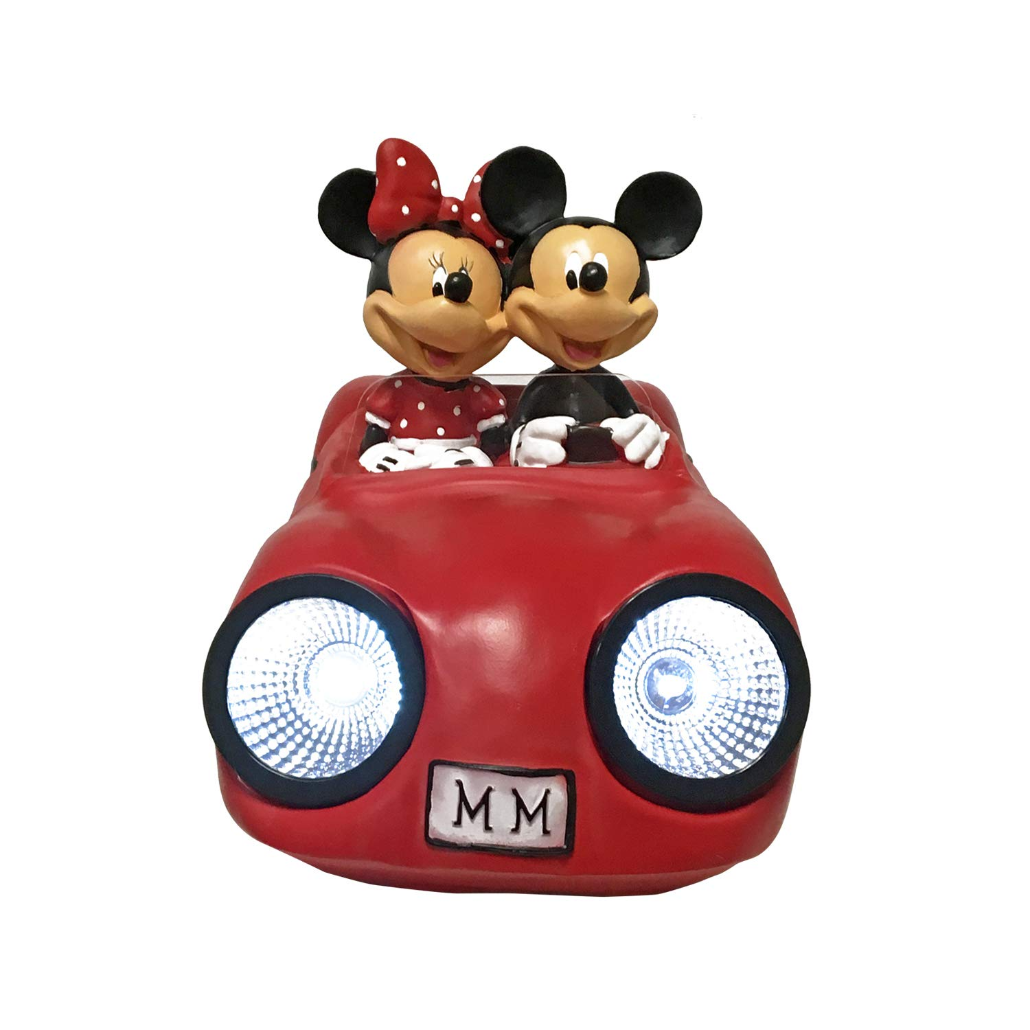 The Galway Company Mickey & Minnie Solar LED Lighted Sports Car, Hand-Painted. Large 7 Inches Tall X 12 Inches in Length, Official Disney Licensed Product