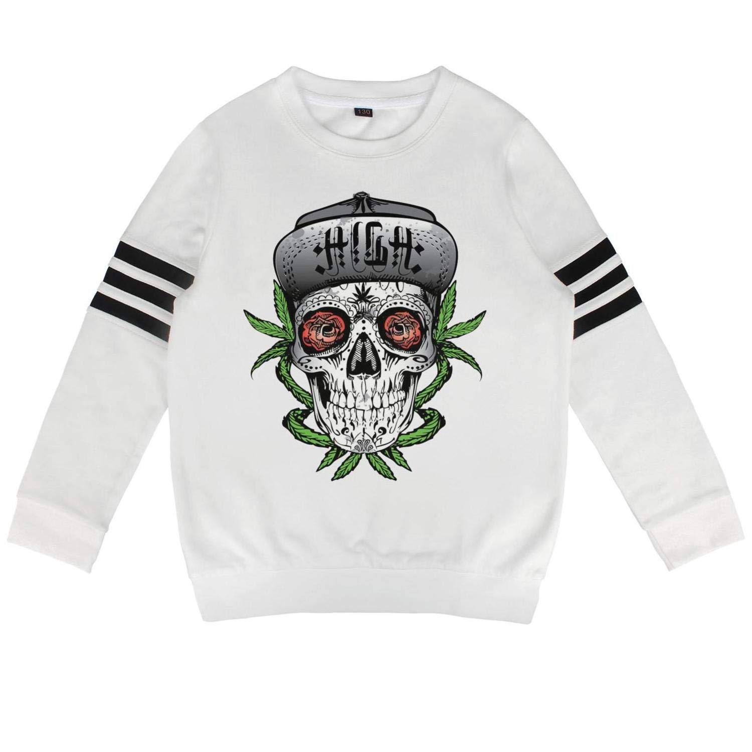 Cannabis Anxiety Skull1 L(67) Daylight Toddler Crewneck Cotton Long Sleeve Sweatshirts Cannabis Warning Labels Hoody Sweatshirt for Boys and Girls