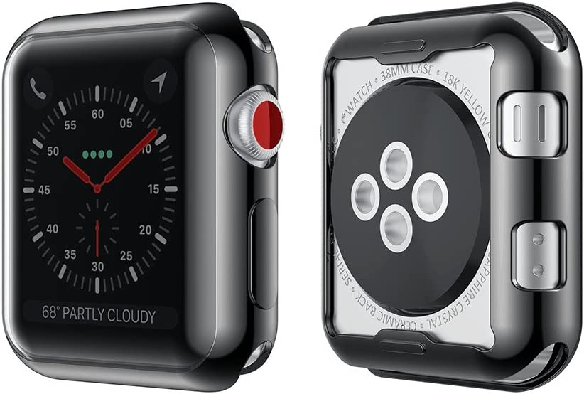 Smiling Case for Apple Watch 38mm with Buit in TPU Screen Protector All-Around Protective Case High Defination Clear Ultra-Thin Cover for Apple Watch 38mm Series 3 and Series 2 (Black, 38mm)