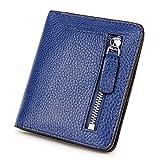 Yafeige Women's RFID Blocking Small Compact Bi-fold Leather Pocket Wallet Mini Slim Purse(Blue)