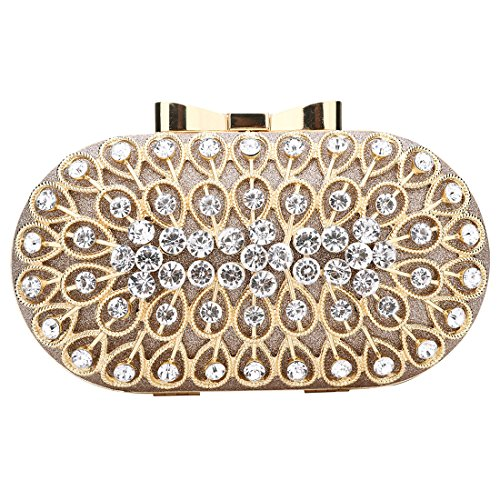 Women Cocktail Clutches Sparkly Party For Bags Crossbody Gold Rhinestone Evening f1wAFyq8w