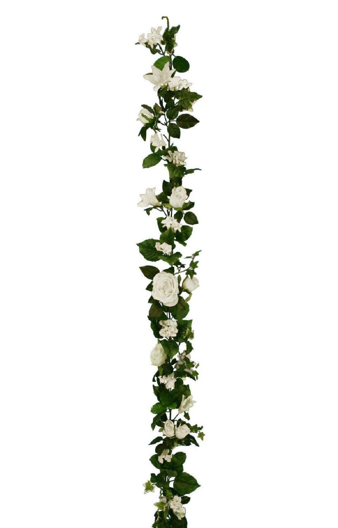 Three 6' Artificial Bridal Lily/Roe/Hydrangea Garland Cream Wedding Silk Flowers