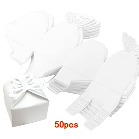 Amazon.com: Kslong 50pcs Boutique Butterfly Candy Box Decoration Boite a Dragees Wedding Decoration Gift Favor Boxes (White): Home & Kitchen