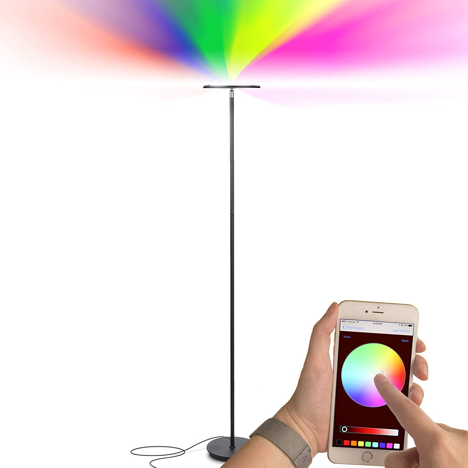 Brightech Kuler Sky – Color Changing Torchiere LED Floor Lamp – Dimmable Light – Remote Control via iOs Android App – Lamp for Living Rooms, Game Rooms Bedrooms – Adjustable Pivoting Head – Black