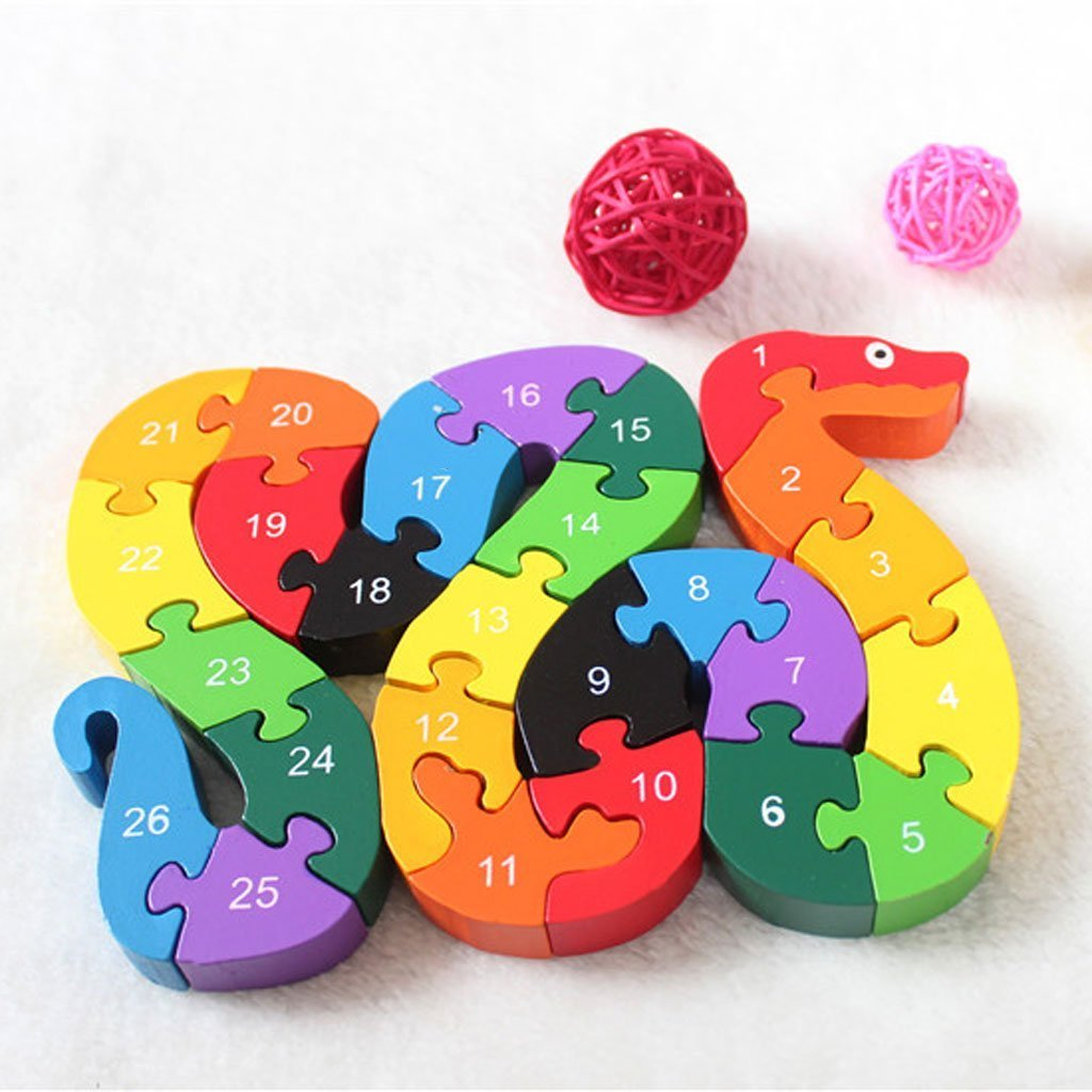 PriMI Colorful Wooden Educational Toys Jigsaw Puzzle Alphabet Snake Building Block