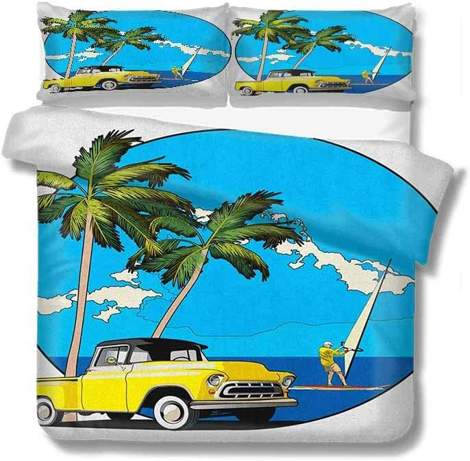 """PRUNUSHOME Retro Twin Duvet Cover Cotton,Box Stitched,Soft,Breathable,Hypoallergenic,Fade Resistant Bedding Set for Kids,Boys and Teens(80"""" W X 90"""" L)/Design Nostalgic Chevy Car and a Multi"""