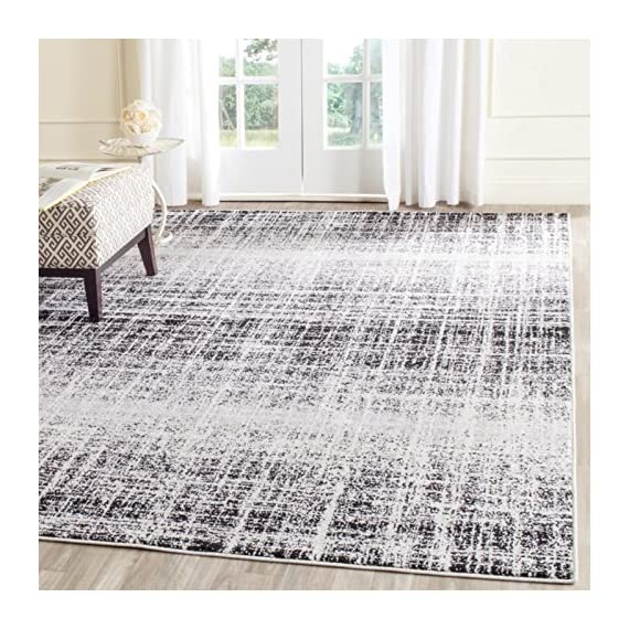 Safavieh Adirondack Collection ADR116A Silver Black Modern Abstract Distressed Runner - Choose from available sizes and shapes Choose from available colors Easy-care polypropylene material - living-room-soft-furnishings, living-room, area-rugs - 61uYmnNa93L. SS570  -
