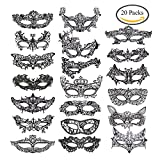 #10: Coobey 20 Pieces Lace Mask Masquerade Venetian Eyemask Halloween Sexy Woman Lace Mask for Halloween Masquerade Carnival Party Costume Ball, Black