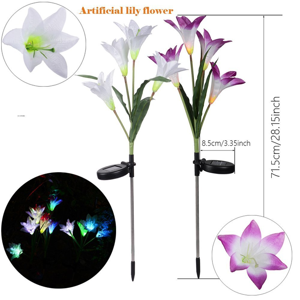 Solar Garden Lights, 2 Pack Outdoor Stake Light with 8 Lily Flower, Multi-Color Changing LED Solar Decorative Lights for Path,Garden, Patio and Yard (Purple and White)