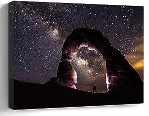 Wall Art Canvas Print Photo Artwork Home Decor (24x16 inches)- Delicate Arch Night Stars Landscape Nature S