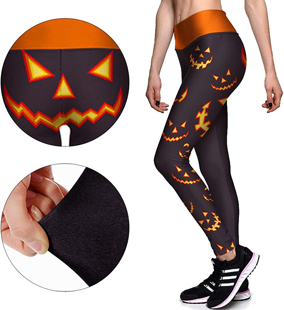 Besteamer Womens High Waist Leggings Pants Halloween Cosplay Costume Stretchy Tights for Evening Party