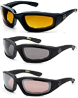 3 Pairs of Choppers Glasses Padded Frame Lense Block 100% UVB for Outdoor Activity Sport