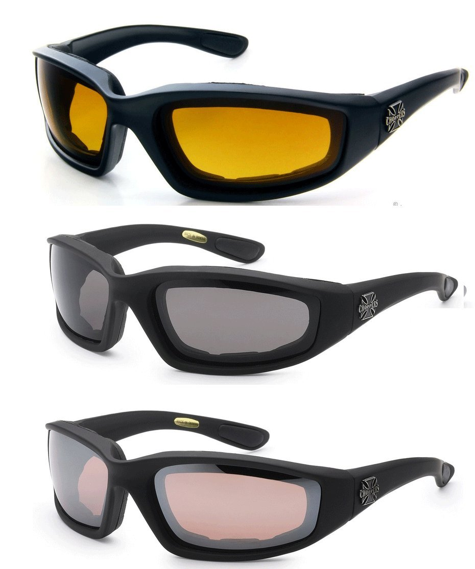 2 Schwarz eine Gr/ö/ße passt meistens High Definition Bernstein Smoke Chopper 3 Paar s Brille Padded Rahmen Lense-Block 100/% Uvb f/ür Outdoor-Aktivit/äten Sport Hd - Smoke - Bernstein