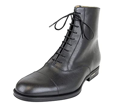 1ec0984aed7 Gucci Men's Black Leather Side Zip Lace-up Ankle Boots 322481 1000 (9.5 G