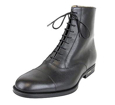 d7207b32121 Amazon.com | Gucci Men's Black Leather Side Zip Lace-up Ankle Boots ...