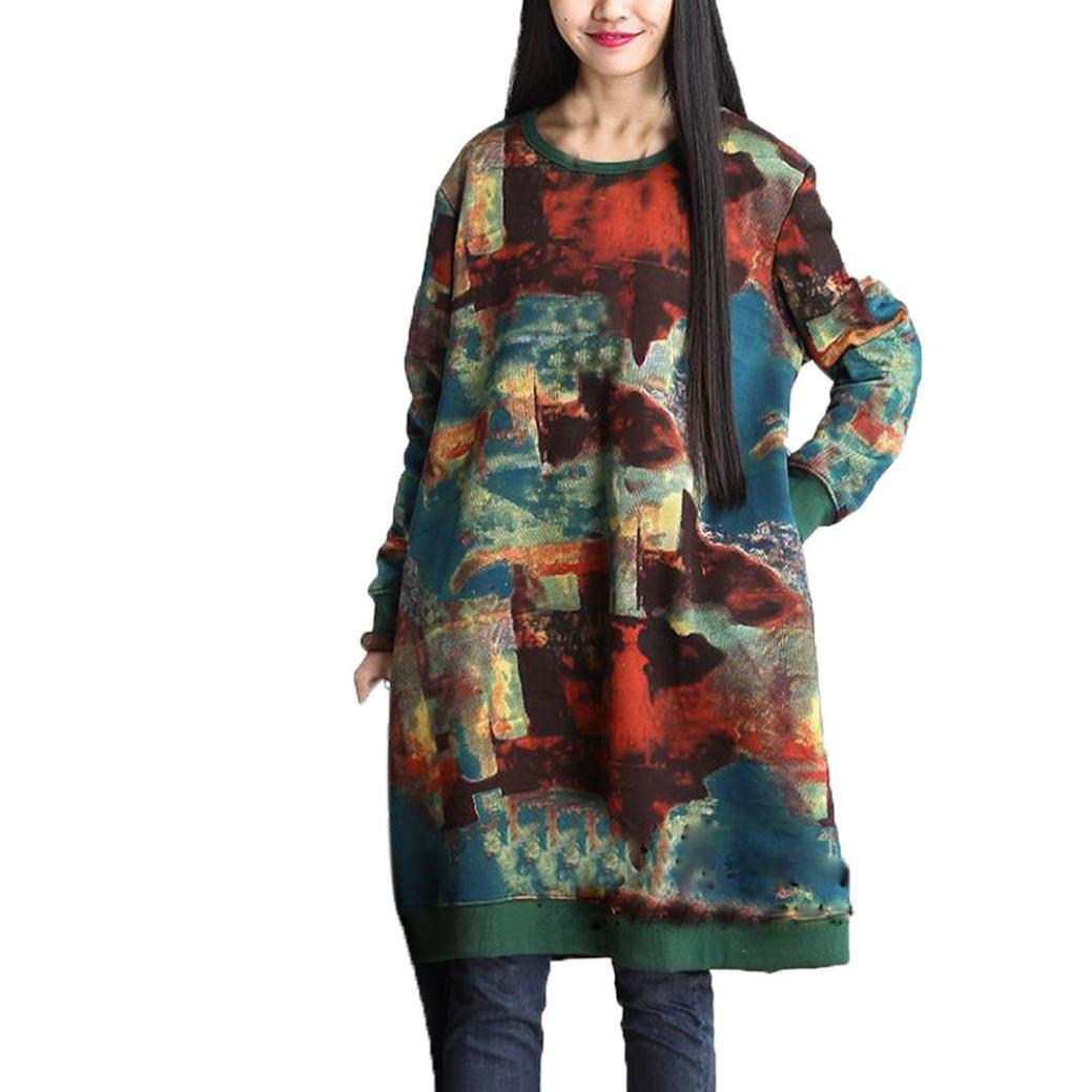 Aurorax Women's Casual Long Sleeve Loose Printing Dress Jumper Dress (L)