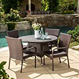 Kory Outdoor 5pc Multibrown Wicker Dining Set Review