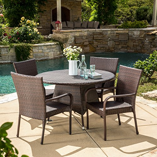 Cheap Great Deal Furniture 295812 Kory Outdoor 5pc Multibrown Wicker Dining Set