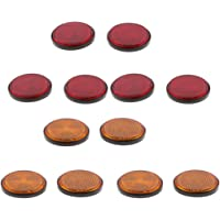 Orange /& Red Yaootely 4 Pcs 2 Inch Round Reflector Universal for Motorcycle ATV Dirt Bike