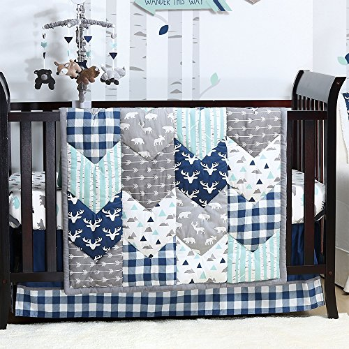 Animal Themes Nursery - Woodland Trail Forest Animal Theme Baby Crib Bedding - 11 Piece Sleep Essentials Set