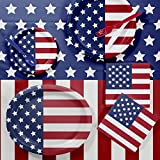Patriotic Party Pack Bundle: Blue and Red America Flag Designed Circular Dinner Plates With Napkins and Cutlery