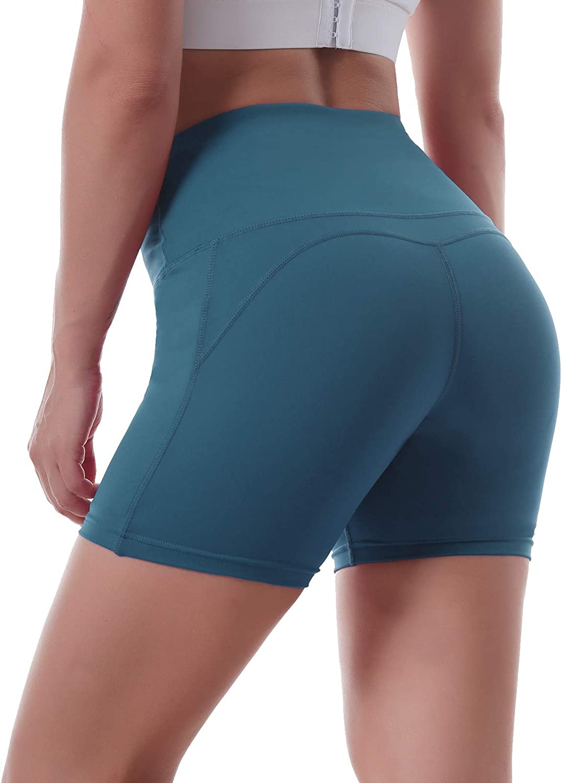 Ritiriko Women's Yoga Shorts High Waist Athletic Workout Running Short with Pockets