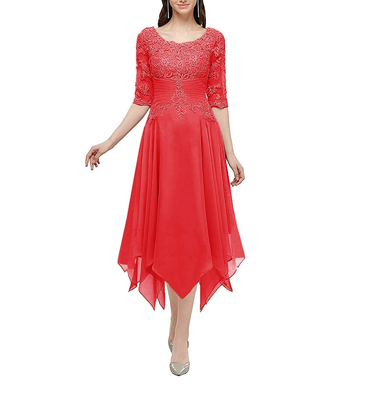 Mother of The Bride Dresses Half Sleeve Lace Formal Evening Dress Plus Size