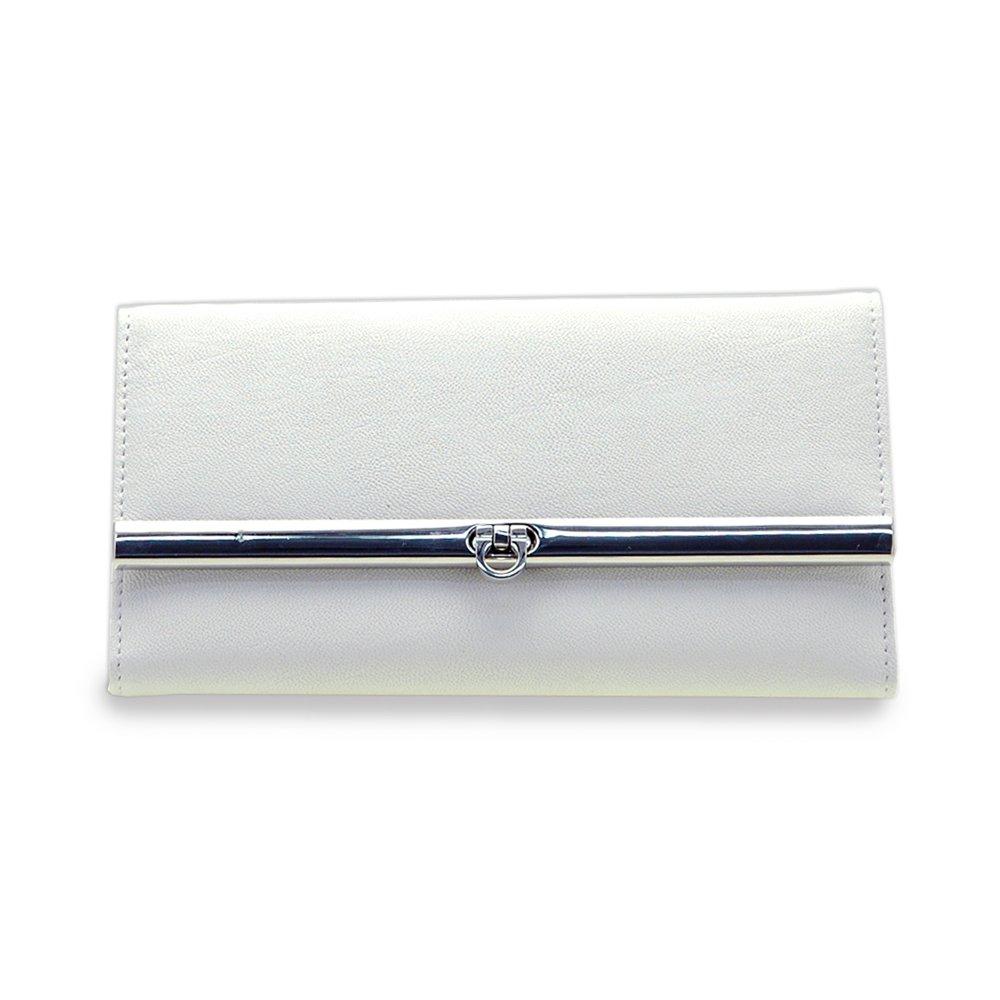 Dasein Women's Fine Tri-fold Texture Leather Like Checkbook Wallet Purse -White