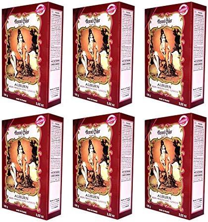 6 x 100 g Henna color natural – Tinte para el cabello polvo Color Certificado caoba oscuro (Auburn) de 6