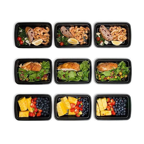 1 Compartment 24 oz Portion Control Lunch Box and Food Storage Container Set -Black- 10 Pack 61uYppL7hdL