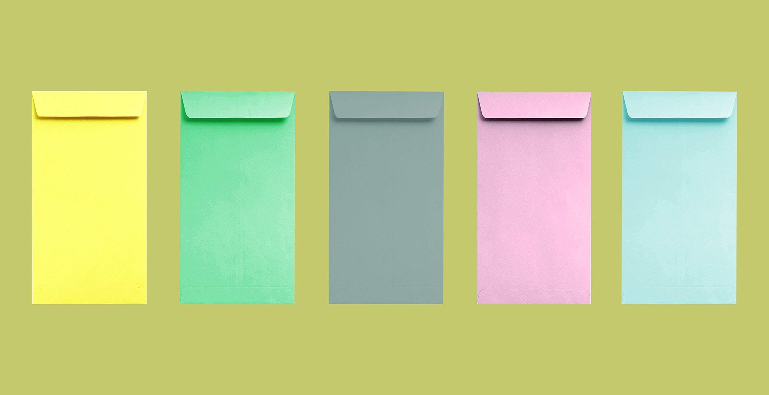 Coin/Cash/Small Parts #7 Assorted Colored Envelopes, 3-1/2'' X 6-1/2'', 24lb, 500/Box, 5 Colors/ 100 Each, Item # PAC75 by CASHIER DEPOT YOUR ONE STOP SHOP FOR ALL CASHIER'S NEEDS