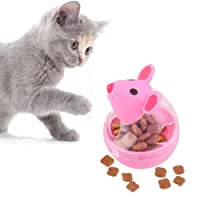 Pawaca Cat Treat Dispenser Ball Toy,Pet Feeding Toy,Interactive Treat-dispensing Ball for Cats,Increases IQ and Mental Stimulation,Mouse Modeling Is More Attractive to Cats.