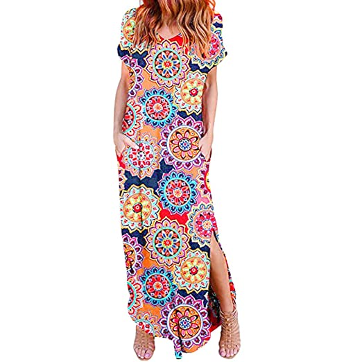 b6f28c4fb00eb Amazon.com: Women's Casual Maxi Dresses, Floral Print Short Sleeve ...