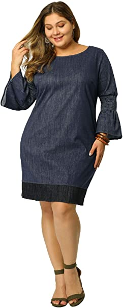 Agnes Orinda Women\'s Shift Dress Plus Size Loose Smock Chambray Denim  Dresses