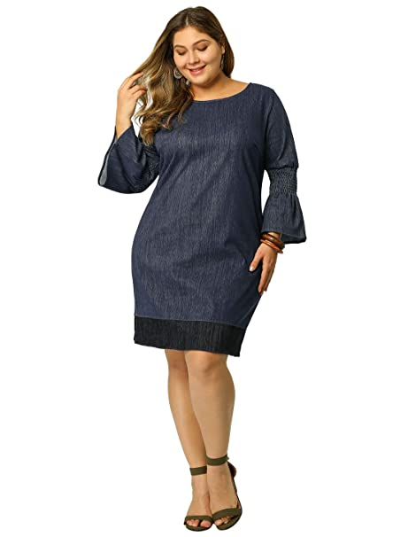 Agnes Orinda Women\'s Shift Dress Plus Size Loose Smock Chambray Denim  Dresses