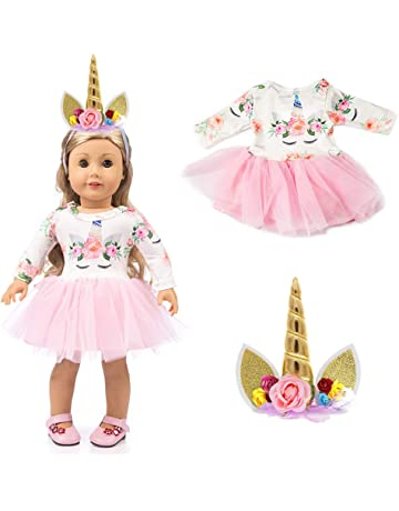 LAISHOW Dolls Clothes Unicorn Print Dresses Outfits   Unicorn Headband for  American Girl Doll   Other 6b9be4b52