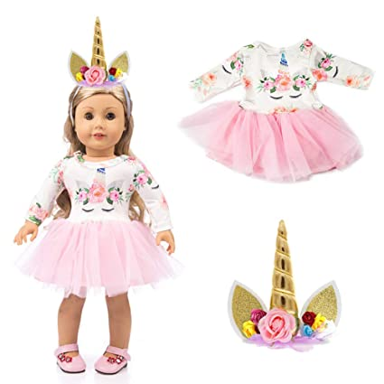 5b467156130 LAISHOW Dolls Clothes Unicorn Print Dresses Outfits   Unicorn Headband for American  Girl Doll   Other 18 Inch Girl Toy Dolls  Amazon.co.uk  Toys   Games