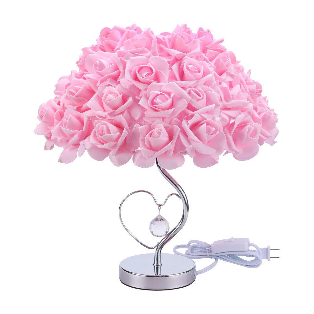 HP95 Adjustable Rose Flower Desk Lamp - Pink Flower Desk Lamp for Girls Room Bedside Lamp - Tree Light Desk Flowers Decorative - Valentine's Day Rose Lamp - Lamp Base E27/E26 (A)