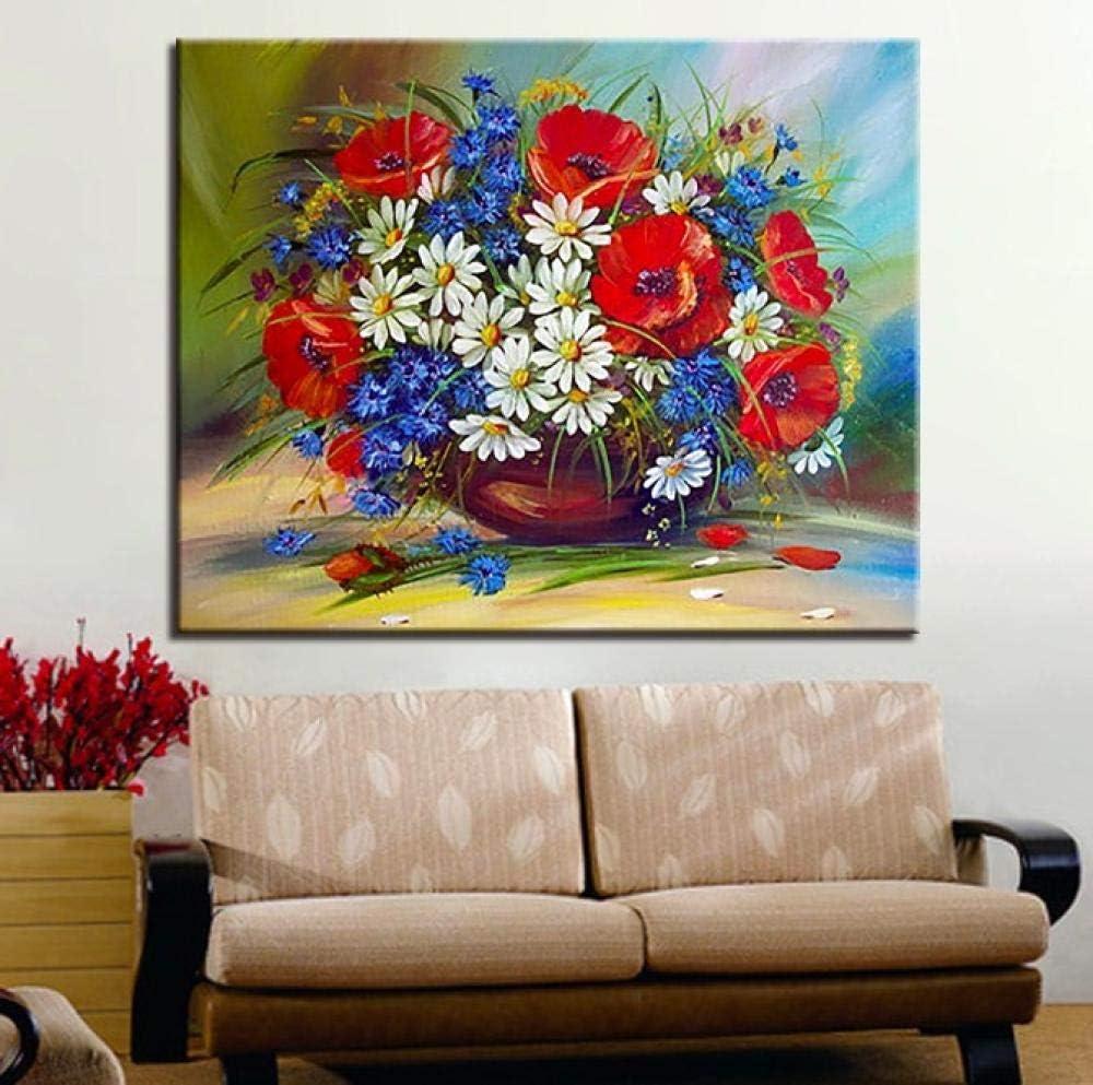 die rote Mohnblumen-Bilder digital handgemalt auf Segeltuch-Ausr/üstungs-Zeichnungs-G/änsebl/ümchen BWHome DIY-Blumen-/Ölgem/älde nach Zahlen Geschenk @ DIY Rahmen 30x40CM f/ärben