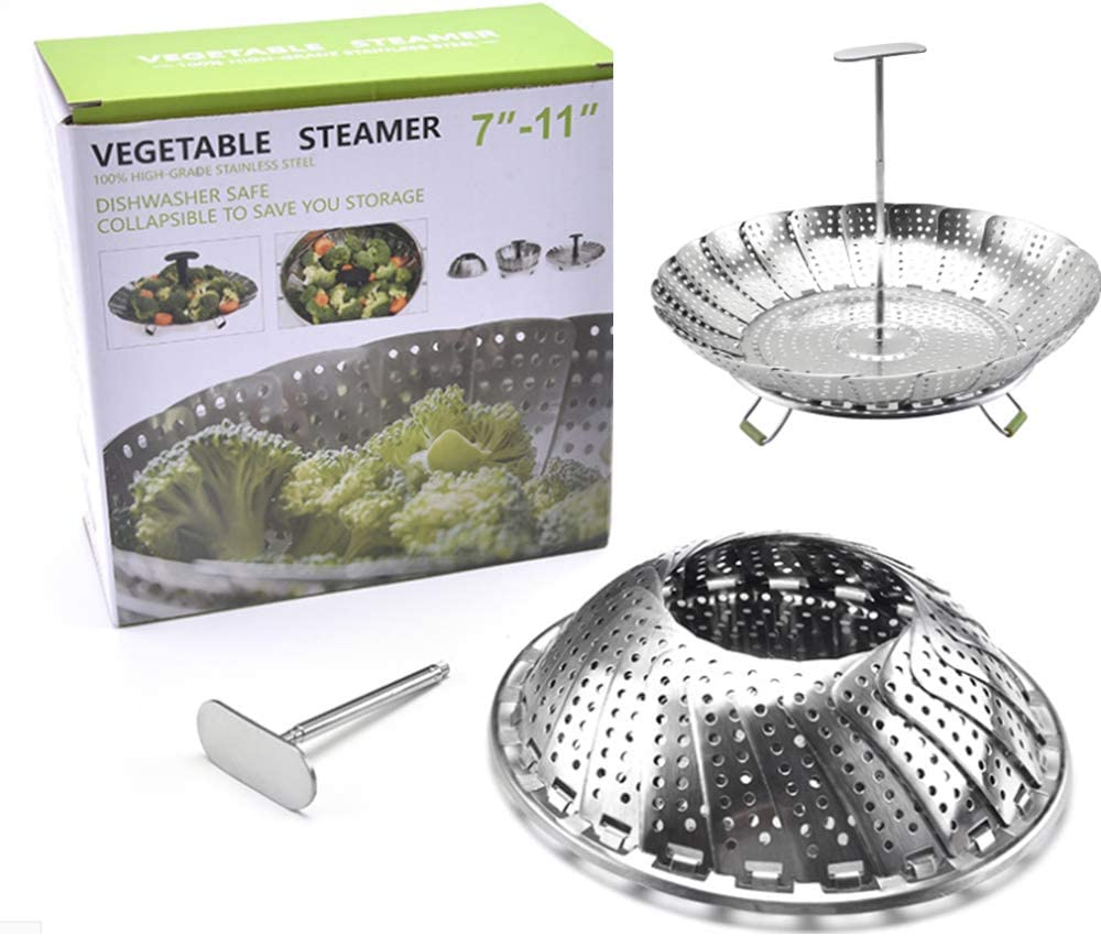 Otartu 11''Steamer Basket Stainless Steel Vegetable Steamer Basket Folding Steamer Insert for Veggie Fish Seafood Cooking, Dishwasher safe.